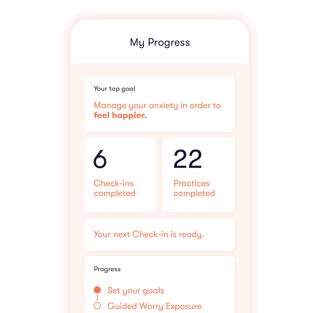 Image depicting a menu of check-ins, practices, and other data from Daylight.