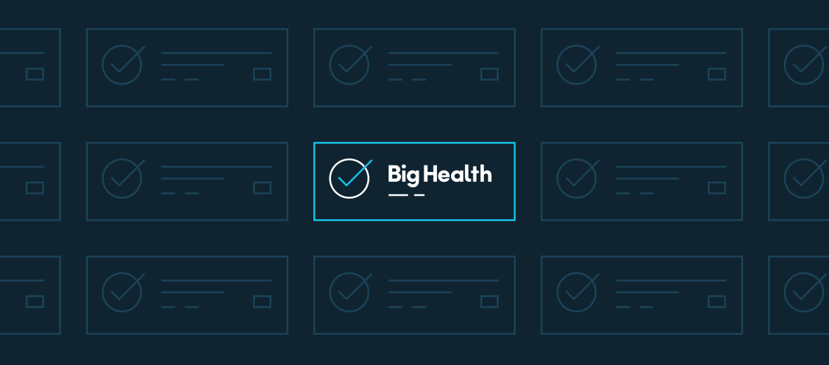 """An abstract image depicting the Big Health logo being """"selected"""" inside of a checked box."""