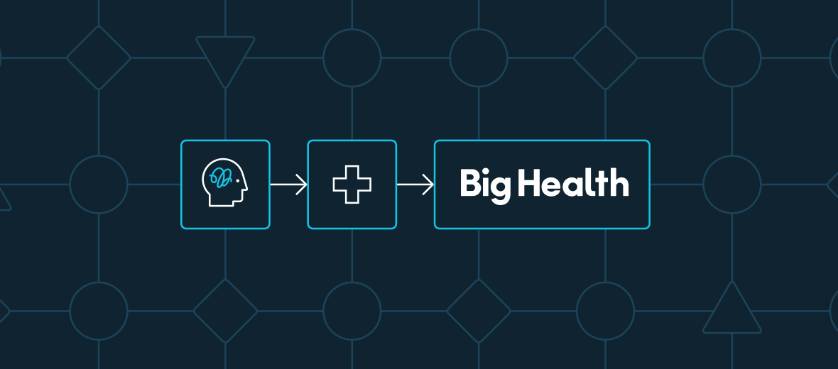 An abstract illustration of providing Big Health's digital therapeutics in the health care patient journey.