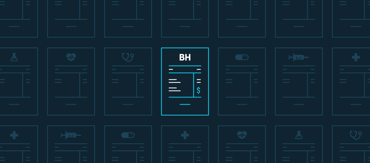 An abstract illustration depicting a Big Health invoice alongside other health care invoices. Billing is available via your company's Pharmacy Benefit Manager.