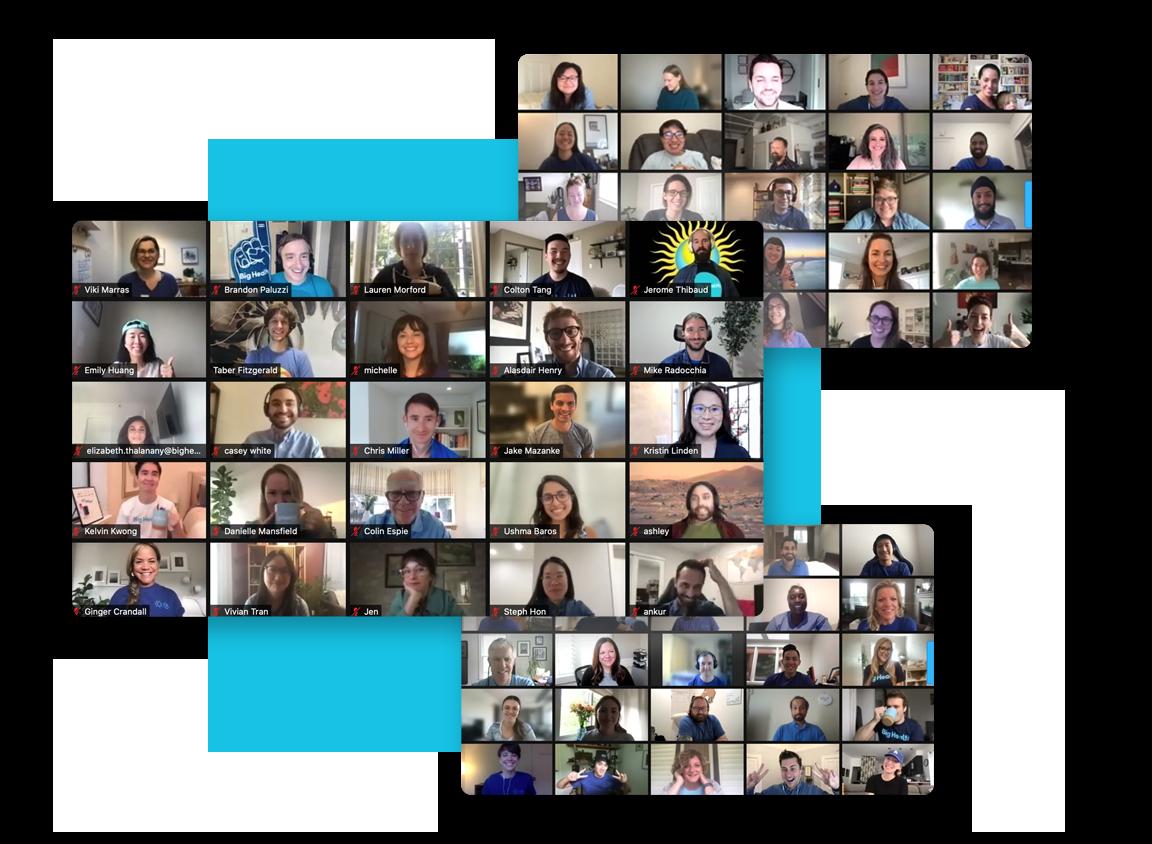 Illustration of the Big Health team at large, present via 3 Zoom video call windows.