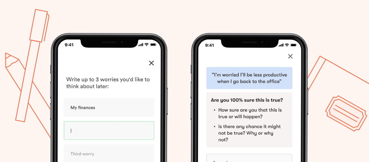 """Image depicting personalization prompts from Daylight, including """"Write up to 3 worries you'd like to think about later"""" and another screen prompting a challenge of one user's worries."""