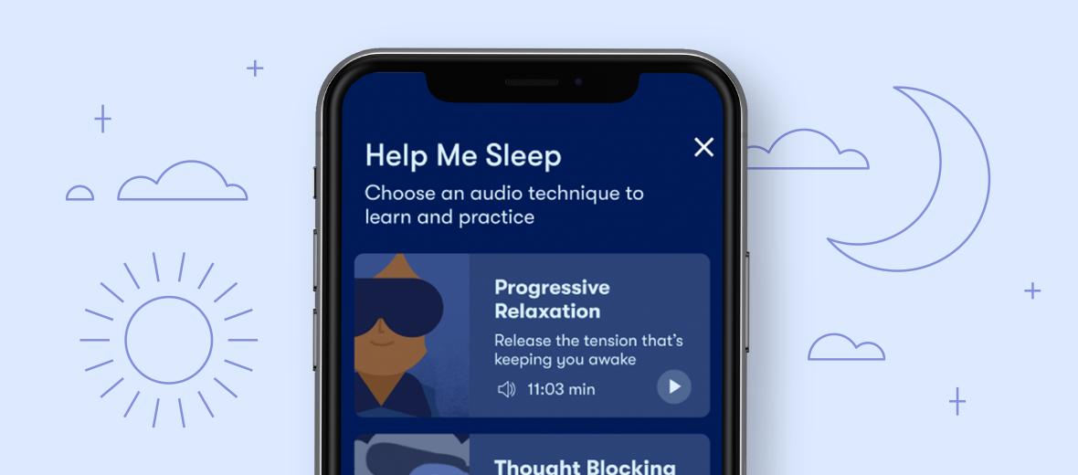 """Image depicting Sleepio's """"Help me get to sleep"""" menu of sleep aids."""