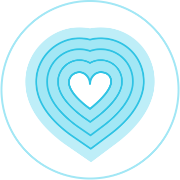 """Illustration depicting the outline of a heart radiating outward (""""you gotta have soul"""" company value)"""
